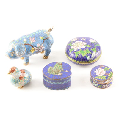 Cloisonné Trinket Boxes and Figurines