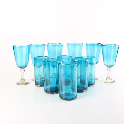 Hand Blown Turquoise Art Glass Tumblers and Stemware