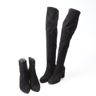 Ciaschi and Debutto Donna Black Suede Booties and Over-the-Knee Boots