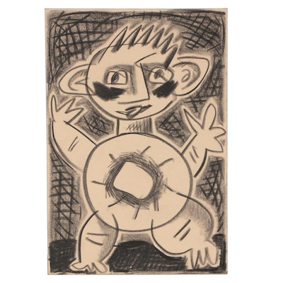 Merle Rosen 2003 Abstract Figural Graphite Drawing