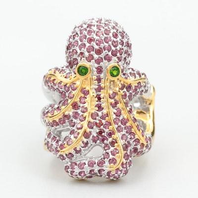 Sterling Silver Diopside and Rhodolite Garnet Octopus Ring