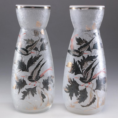Adat Etched and Enameled Vases, Pair