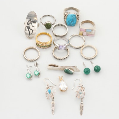 Mélange of Sterling Silver, 800 Silver and Costume Jewelry