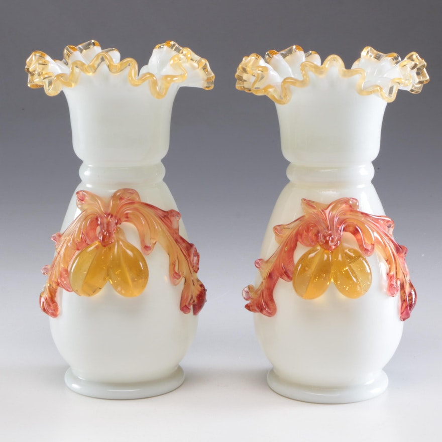 Stevens & Williams Hand Blown Glass Vases with Fruit Applique, Late Victorian