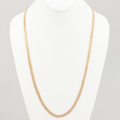 14K Yellow Gold Woven Necklace