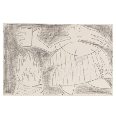 Merle Rosen Abstract Figural Graphite Drawing