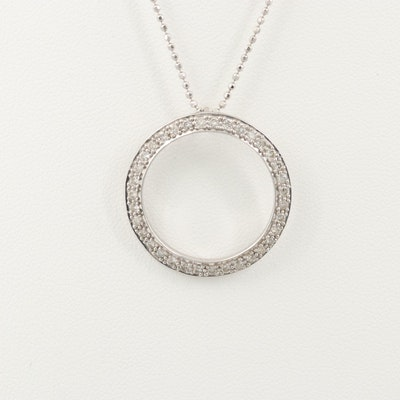 18K White Gold 1.05 CTW Diamond Pendant Necklace