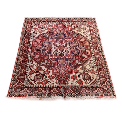 Hand-Knotted Romanian Heriz Wool Rug