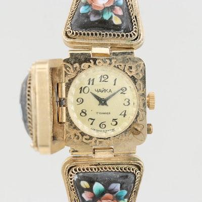 Vintage Yanka Soviet Russian Enamel Secret Dial Stem Wind Wristwatch
