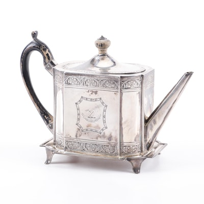 Henry Chawners Engraved English Sterling Silver Teapot on Stand, 1792