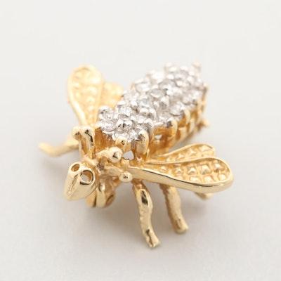 14K Yellow Gold Diamond Insect Pin