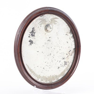 Oval Wood Framed Marriage Mirror, 18th Century