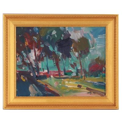 "Jose Trujillo 2019 Oil Painting ""Treelined Blessings"""