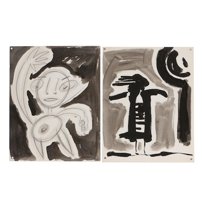 Merle Rosen Embellished Ink Drawings of Abstract Figures