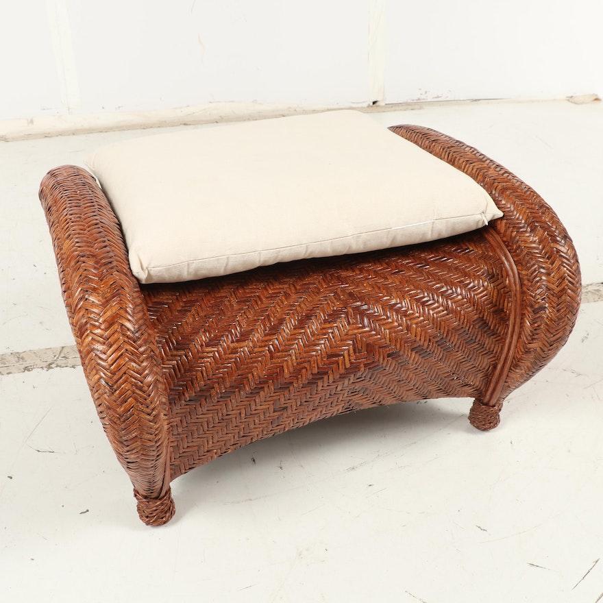 Pottery Barn Woven Wicker Armchair And Ottoman Ebth