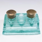 Victorian Pressed Glass Inkstand with Brass Caps, Late 19th Century