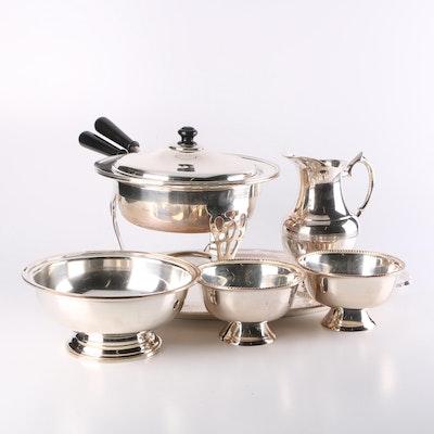 R.R. International Silver Plated Serveware and Fondue Set