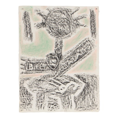 Merle Rosen 1997 Charcoal Rubbing of Abstract Figure