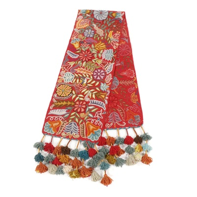 Hand Embroidered Indian Gujarati Woven Table Runner