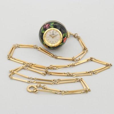 Vintage Bucherer Enamel and Gold Tone Stem Wind Pendant Watch