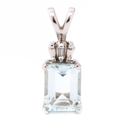 10K White Gold Aquamarine and Diamond Pendant