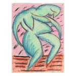 Merle Rosen Abstract Figural Pastel Drawing