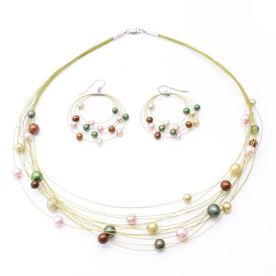 Sterling Silver and Pearl Multi-Strand Necklace and Earrings