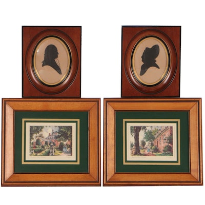George and Martha Washington Silhouettes and Williamsburg Offset Lithographs