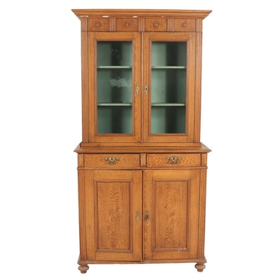 Vintage Swedish Wooden Cupboard with Skelton Key