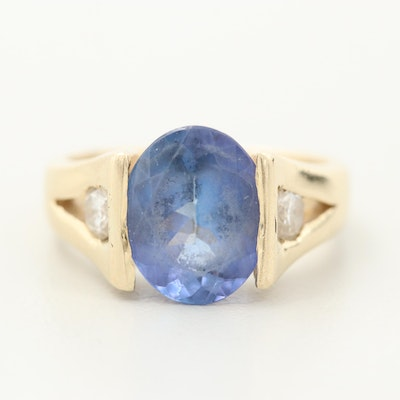 14K Yellow Gold 3.35 CT Tanzanite and Diamond Ring