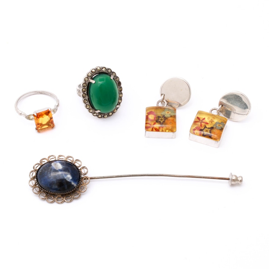 Vintage Sterling Silver Jewelry Including Sodalite, Marcasite, Imitation Citrine