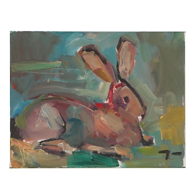 "Jose Trujillo Oil Painting ""Resting Rabbit"""