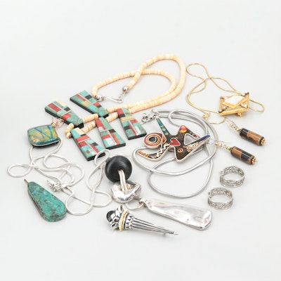 Assortment of Jewelry Featuring Sterling Silver Pendant, Turquoise and Coral