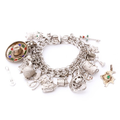 Sterling Silver Charm Bracelet, Vintage and Contemporary