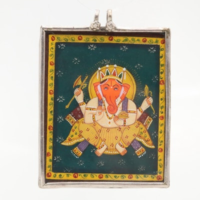 Sterling Silver Hand Painted Ganesha Pendant