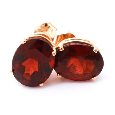 14K Yellow Gold and Garnet Stud Earrings
