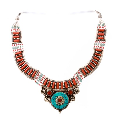 Tibetan Style Sterling Silver Coral and Turquoise Bib Necklace