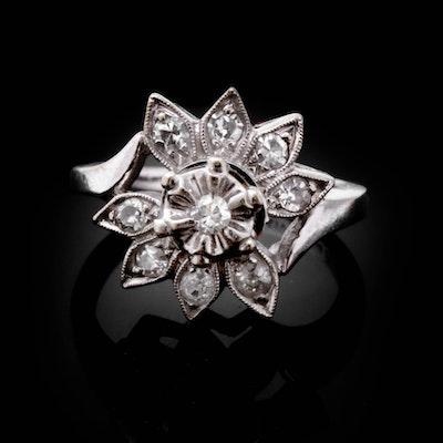14K White Gold and Diamond Child's Ring