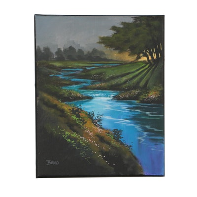 "Douglas ""Bumo"" Johnpeer 2019 Oil Painting ""Morning Shine"""