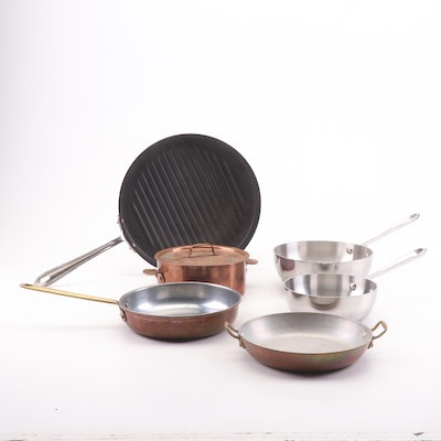 Copper and Stainless Steel Cooking Pans Featuring All-Clad and Copral