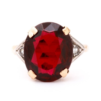14K Yellow Gold Ring with Diamond and Synthetic Ruby