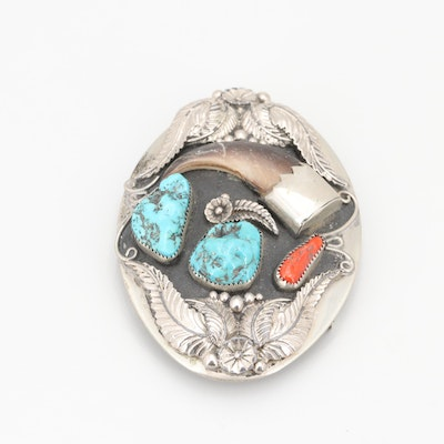 Bear Claw, Turquoise, and Coral Southwestern Belt Buckle with Saw Cut Bezels