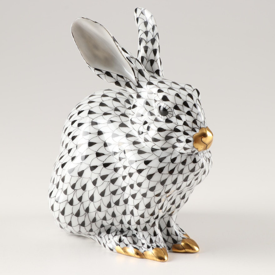 "Herend Black Fishnet ""Sitting Bunny Rabbit"" Figurine"