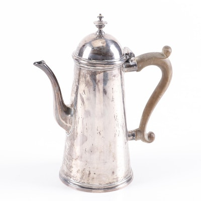 English Sterling Silver Coffee Pot with Carved Wood Handle, 1725