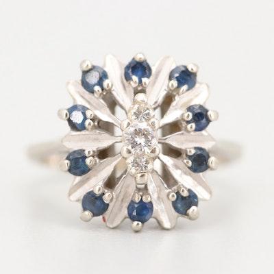 MAC 14K White Gold Diamond and Sapphire Ring