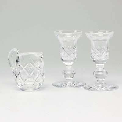 Waterford Crystal Candleholders and Cream Jug