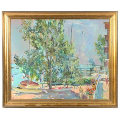 Late 20th Century Harbor Scene Oil Painting