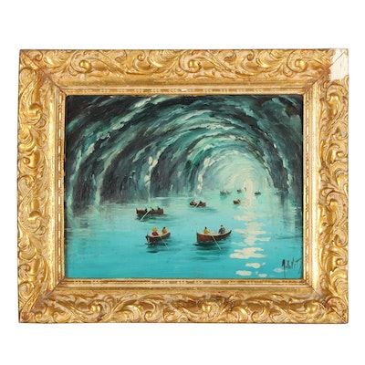 20th Century Underwater Cave Oil Painting