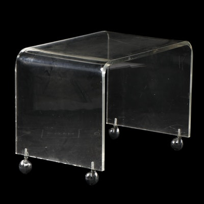 Modern Style Clear Acrylic Accent Table On Casters