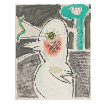 Merle Rosen 2002 Abstract Pastel Drawing